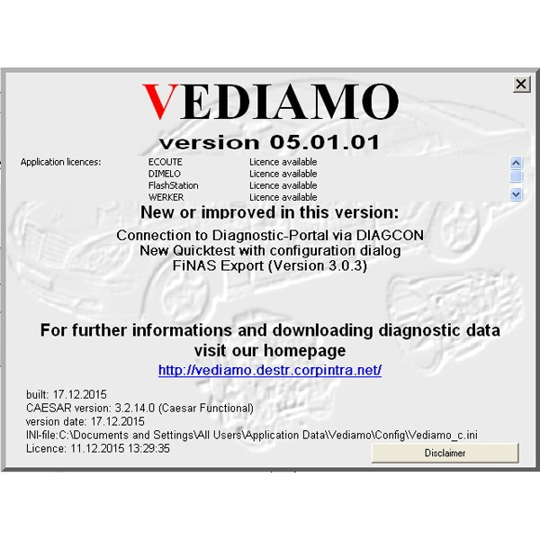 Benz Vediamo V05.01.01 Factory Developer Software for C4