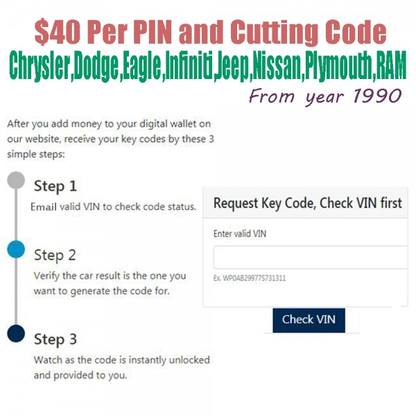 VIN2PIN Chrysler Pin Code Service Get Key Code from VIN for All FCA